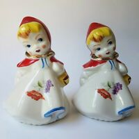 Little Red Riding Hood Hull Salt and Pepper Shakers Vintage Regal China Large 5