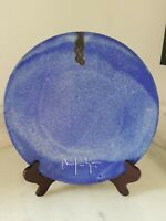Old McCarty Pottery Dinner Plate Cobalt Blue Double Signed Rivermark