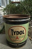 RARE EARLY OLD ANTIQUE TYDOL FLYING A MOTOR OIL TIN CAN BUCKET SIGN GAS STATION