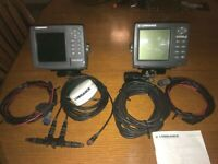 lowrance lms 520c gps+ antenna+ power cord / x-135 with transducer+ power cord