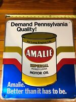 Gas Oil Vintage Collectable Amalie Motor Oil Tin Sign Antique Very RARE Stout