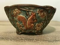 WELLER Art Pottery Woodcraft Forest Footed Squirrel Acorn Bowl Brown Blue Greens