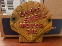 VINTAGE 1930s SHELL MOTOR OIL CAST IRON  SIGN  7