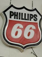 Phillips 66 Lighted Sign Gas Oil Vintage Collectable Man Cave Garage Decor