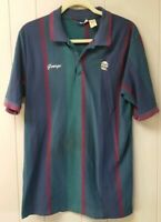 VTG 80s Pizza Hut Delivery Polo Shirt L Large Stripes Corporate Logo 1980s