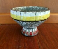 Vintage ITALIAN  POTTERY COMPOTE BOWL ITALY MID CENTURY MODERN YELLOW RED WHITE