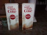 2 Vintage Coca Cola Embossed Metal Signs For Dolly Cart Old Soda Pop Advertising