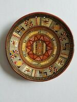 Vintage Hand Painted Art Pottery Wall Hanging Plate - Made In Cusco, Peru