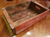 Vintage Coca-Cola Wooden Red Soda Pop Crate Carrier Box case wood coke 1974
