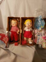 Vintage 1971 Campbell Soup Kid Mail Away Vinyl Boy & Girl Dolls w/Boxes + Extras