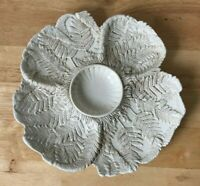 VINTAGE ART POTTERY OYSTER PLATE - Embossed Fern Leaves - Italy - READ