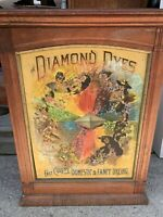 Antique Late 19th Century Diamond Dyes Store Display Cabinet Tin Litho