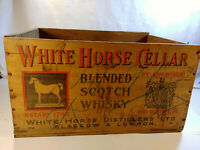 White Horse Cellar Scotch Whisky WOOD CRATE Glasgow Scotland Vintage Box WV