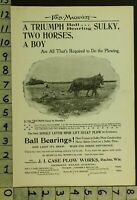 1897 AG FARM CASE SULKY PLOW RACINE WISCONSIN EQUESTRIAN WORK HORSE AD RR39