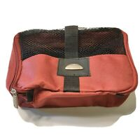 Samsonite Toiletry Travel Bag Red Maroon Zipper Open Small Mesh Outer Cover