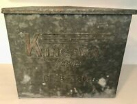Vtg 1930 50s PORCH DAIRY MILK BOX KINGSWAY MASPETH L.I NEW YORK GALVANIZED METAL