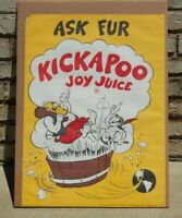 Vintage 1965 *Ask Fur KickaPoo Joy Juice* soda Advertising Sign Poster 27 X 19.5