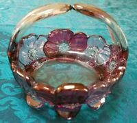 Vintage Glass Basket With Pink And Purple Glass Flowers
