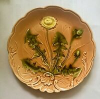 "Antique French ""Dandelion"" Majolica Plate by Orchies excellent"