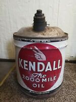 Vintage Kendall Gas Station Sign The 2000 Mile Metal Oil Gas Can 5 Gallon