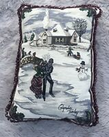 Christmas Throw Pillow Ice Skaters by Glynda Turley 17
