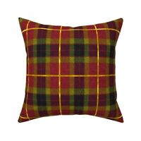 Red And Gol Plaid Christmas Throw Pillow Cover w Optional Insert by Roostery