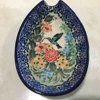 C.A. POLISH POTTERY SPOON REST Unikat Floral w Hummingbird #3271 T. Liana NEW