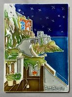 "Vietri Pottery Souvenir Tile ""Amalfi"" Coast Hand Made in Italy Limoncello Fish"