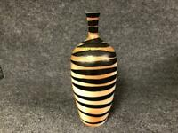 Hand Made Tiger Stripped Ceramic Studio Pottery Vase Handcrafted
