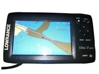 Lowrance Elite-7 HDI GPS Down Image Fish Finder Sonar Sun Cover Gimbal Pwr Cord