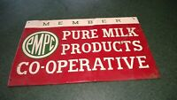 VINTAGE PMPC Member Pure Milk Products CO-Operative Tin metal Farm sign CO-OP