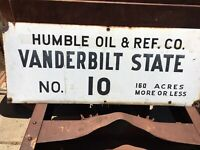 Humble Oil & Ref Co. Vanderbilt State No. 10 Lease Gas Oil Sign