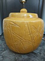 Vintage Haeger Pottery Yellow Bamboo Lamp