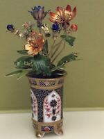 ANTIQUE  FRENCH MINIATURE PORCELAIN VASE ENAMEL GLASS FLOWERS GILT METAL