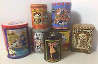 7 Collectible Vintage Tins Nestle Planters Licorice Barnum Cracker Jack Mars