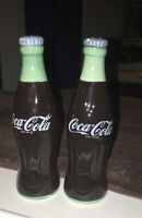 Vintage 1993 Coca Cola Salt and Pepper Shakers Ceramic Bottles 5 1 2quot;