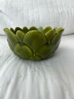 VINTAGE BOWL Green Majolica  Leaf BOWL MADE IN ITALY