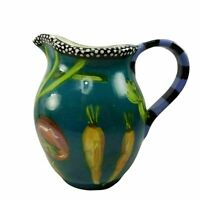 Droll Designs Teal Vegetable Round Pitcher Veggies Eggplant Carrots Tomatoes