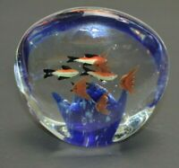Murano Style Glass Tropical Fish Paperweight Multi Color 4.75