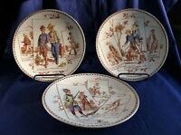 3 French Humorous Hunting Scene Plates (FAIENCERIES DE SARREGUEMINES) c. 1895