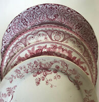 4 Curated Mismatched China & Ironstone Dinner Plates Pink Red Transferware