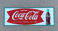 Vintage Coca Cola Sign Fishtail - Rare Antique Coke Soda Button 1950-60s MCA1927