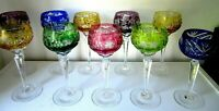 Set 9 (+ !) BOHEMIAN CUT TO CLEAR WINE HOCK Goblets 8-1/2