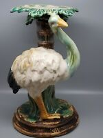 VTG/Antique  Majolica Ostrich Under Palm Tree Figurine Figural Stand 11