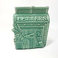Vintage 1950's/60's McCoy USA Art Pottery Mailbox Mail Letters Wall Pocket Green
