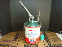 Vintage Advertising Standard Amoco 5 Gallon Pump Oil Gas Lube Grease Metal Can