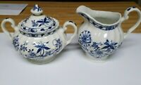 Vintage Blue Lily Made In Staffordshire England Ironstone Creamer