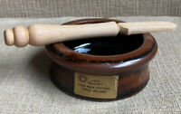 Louis Mulcahy Irish Pottery Brown Dipping Butter Dish w Wood Wooden Spreader