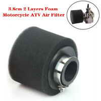 38MM Caliber Universal Motorcycle ATV Air Filter Straight Cleaner 2 Layers Foam