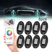 Mustwin 8 Pods RGB LED Rock Lights Wireless APP Music Chasing Offroad ATV 12V